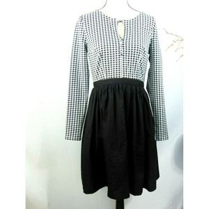 Modcloth Dress Hounds Tooth Fit & Flare Pockets
